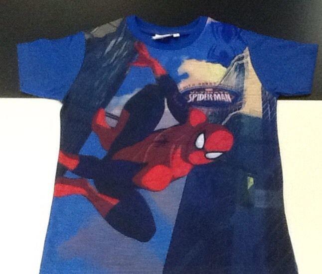 Maglietta bambino manica corta Spiderman blu 10 anni idea regalo