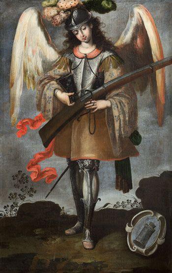 """Anonymous painter from Lima, Arcángel San Miguel, 18th century, oil on canvas, 673⁄4"""" x 45"""". PARROQUIA DE SANTA MARÍA LA MAYOR, EZCARAY, LA RIOJA, SPAIN"""