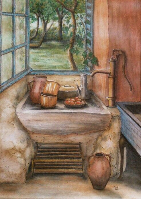 'Through the kitchen window'. Watercolour by Norman Sumpton.