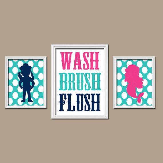 PIRATE MERMAID Wall Art Boy Girl Brother Sister Bathroom Canvas Child Artwork Nautical Sea Ocean WASH Brush Polka Dot Set of 3 Prints