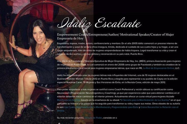 Idáliz Escalante's page on about.me – http://about.me/idalizescalante