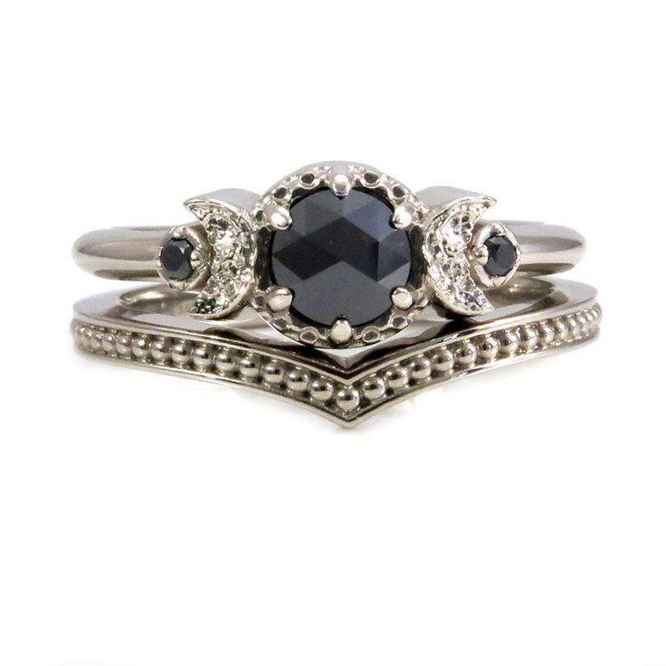 White Gold and Black Diamond Moon Ring Set - Millgrain Chevron Band - Gothic Engagement Rings by SwankMetalsmithing on Etsy https://www.etsy.com/listing/478026355/white-gold-and-black-diamond-moon-ring