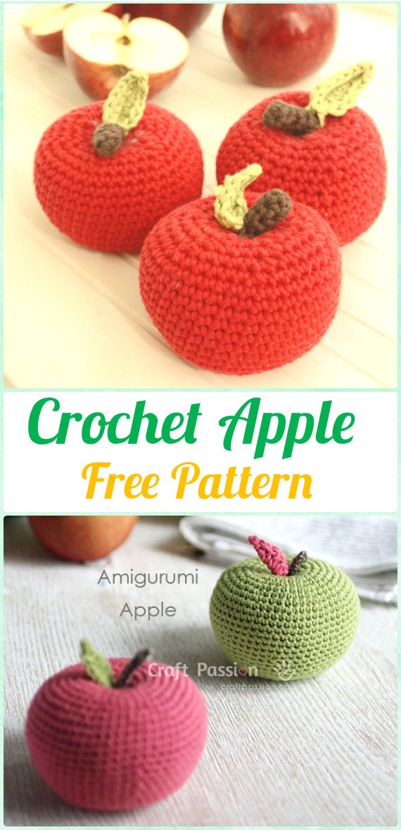 Crochet Amigurumi Apple Free Pattern - Crochet Amigurumi Fruits Free Patterns