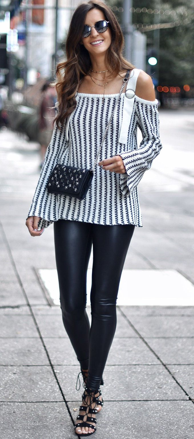 #fall #outfits women's white and black striped off-shoulder long-sleeve top and black leather pants Click To Shop This Look.