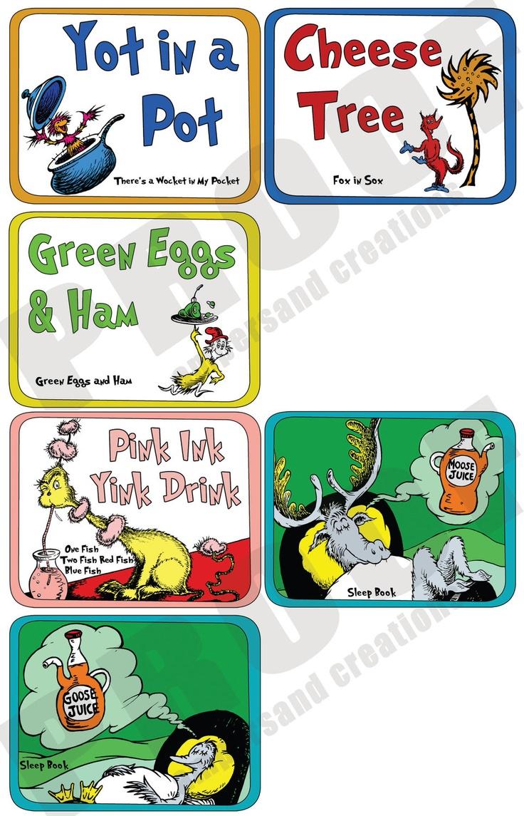 Dr Seuss Theme Food Label Dr Seuss Pinterest Dr