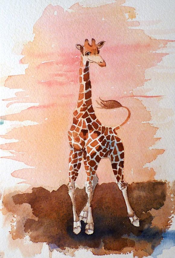 Giraffe Art Watercolor Painting