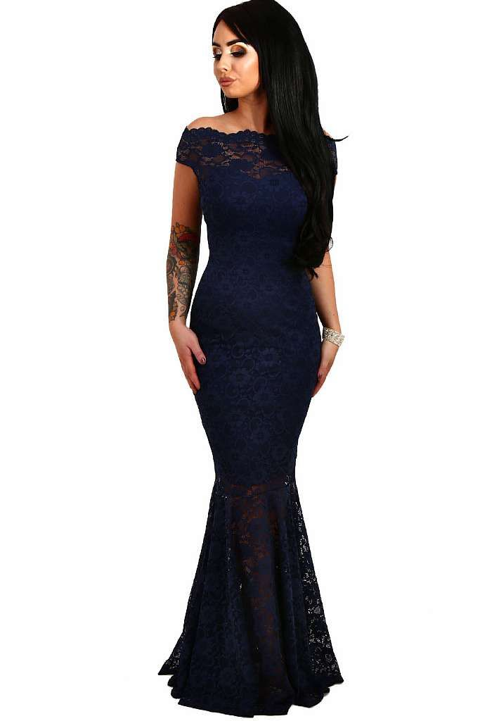 1199066480c0d Navy Bardot Lace Fishtail Maxi Dress in 2019   Women's online store – sexy women's  clothing – My Easy Shop   Fishtail maxi dress, Lace evening gowns, ...