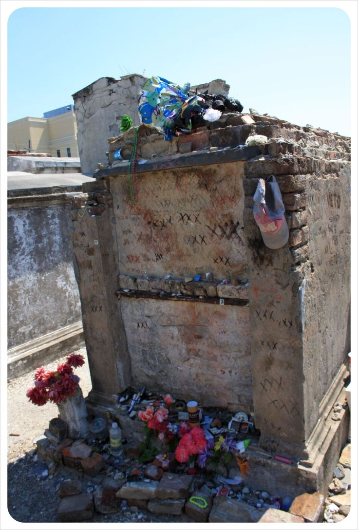 New Orleans @ St Louis cemetery, home to the official grave of famous VooDoo queen Marie Laveau which is visited by voodoo fans from all over the world every day who leave offerings such as booze, flowers, but  interestingly most of all lip balm!