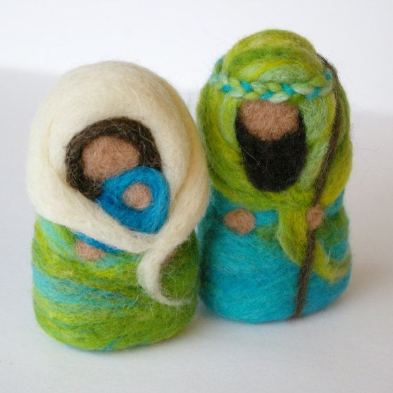 RESERVED for MMM Nativity in Felted Wool : The Holy Family  (Needlefelted Christmas Ornament OR Toy)