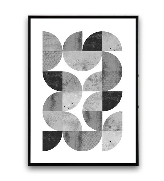 Minimalist abstract print geometric art print van Wallzilla op Etsy