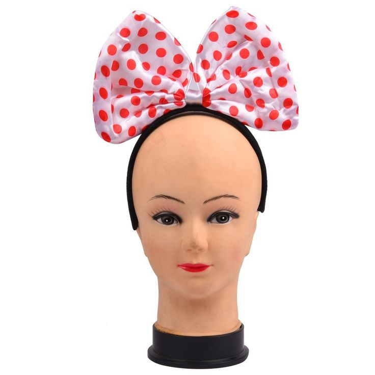 These headband with polka dot bow attached are great for dress up, or a theme birthday party. They are stationed on a black headband. The headbands are small enough for kids, but stretchy enough for adults.