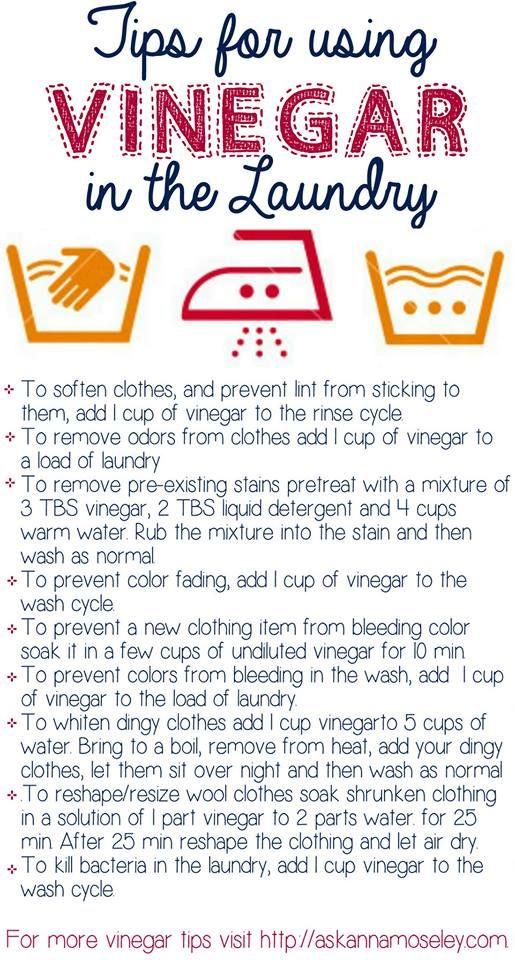 Adding vinegar to the laundry