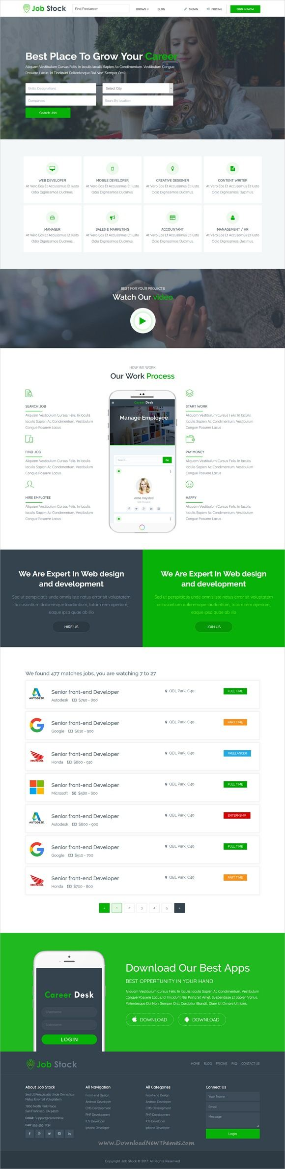 Job Stock is clean and modern design 4in1 responsive #bootstrap template for creative #jobboard or #jobs portal website download now..