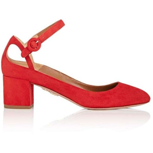 Aquazzura Women's Sweet Thing Suede Mary Jane Pumps (3.854.975 IDR) ❤ liked on Polyvore featuring shoes, pumps, red, mary jane shoes, red suede pumps, red mary jane pumps, red pumps and suede pumps