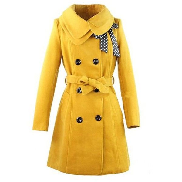 Hee Grand Women's Wool Blends Slim Trench Coat (250 BRL) ❤ liked on Polyvore featuring outerwear, coats, jackets, coats & jackets, tops, slim trench coat, trench coats, yellow trench coat, slim coat and slim fit trench coat