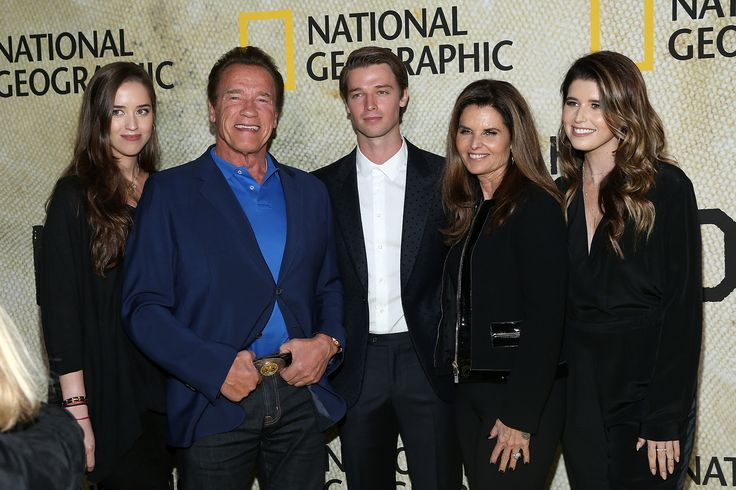 LOS ANGELES, CA - OCTOBER 30:  (L-R) Christina Schwarzenegger, Arnold Schwarzenegger, Patrick Schwarzenegger, Maria Shriver and Katherine Schwarzenegger attend the premiere of National Geographic's 'The Long Road Home' at Royce Hall on October 30, 2017 in Los Angeles, California.