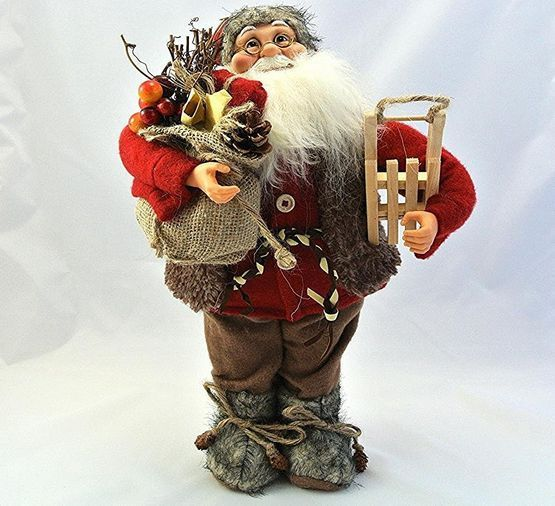 Large santa #claus figure christmas ornament #father xmas gift sack #wooden sledg,  View more on the LINK: http://www.zeppy.io/product/gb/2/152266390897/