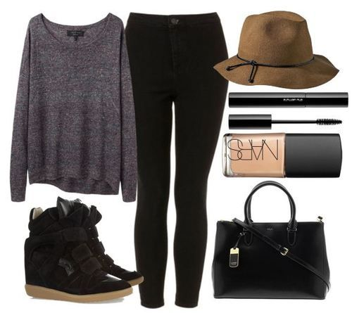 REQUESTED Kendall Inspired outfit for shopping in London featuring black wedge sneakers Links available here