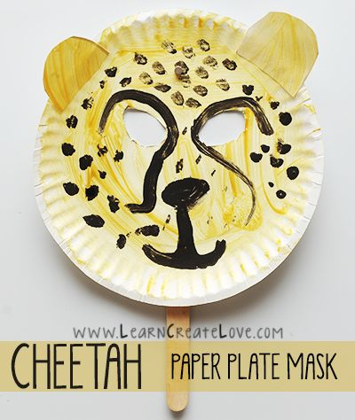 Paper Plate Cheetah Mask Craft | LearnCreateLove.com Adapt as zebra so I can use white plates at toddler group.