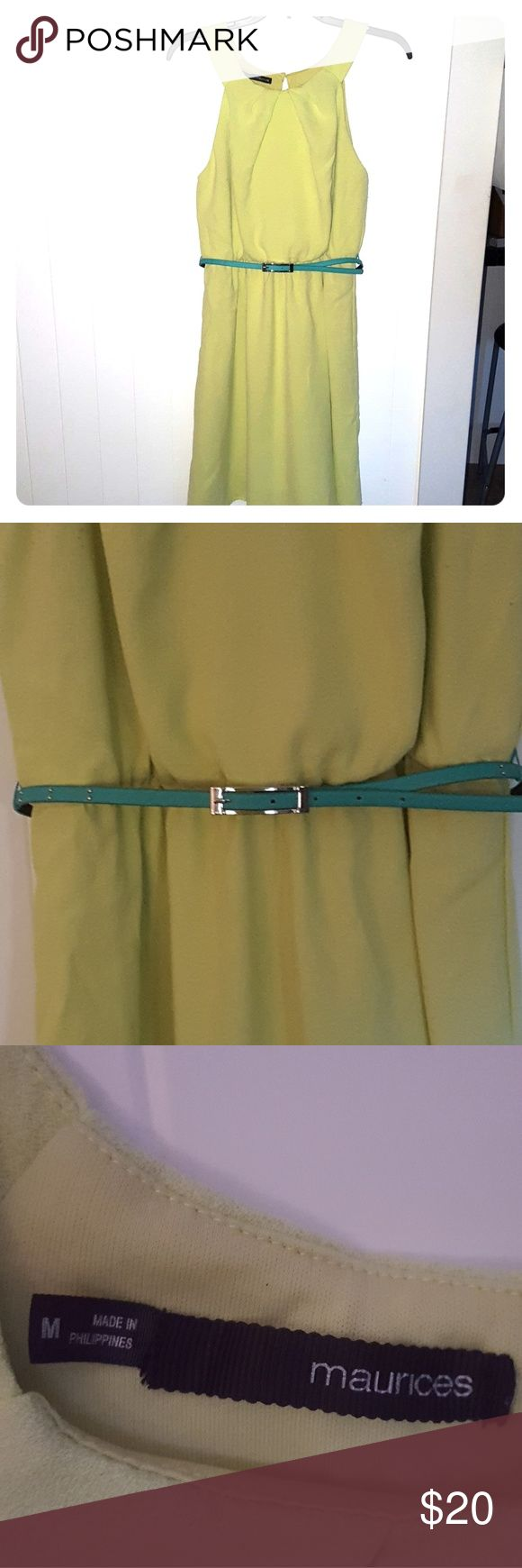 Maurices lime green dress Medium Lime green dress with teal belt.  Can be worn without the belt. Has a nice attached lime liner :-) Maurices Dresses Midi