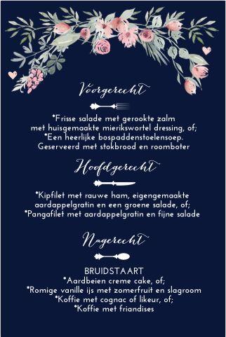 Botanisch menukaart voor op tafel bij jullie bruiloft? Met romantische watercolorbloemen, hartjes en sierletters. Geheel zelf aan te passen. Gratis verzending in Nederland en België.