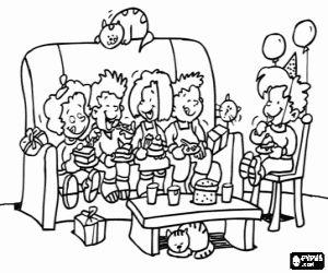 Omalovánka Chutné občerstvení na narozeninové párty