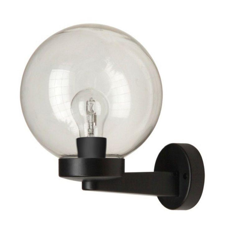 Bol buiten wandlamp Ordan, zwart, transparant