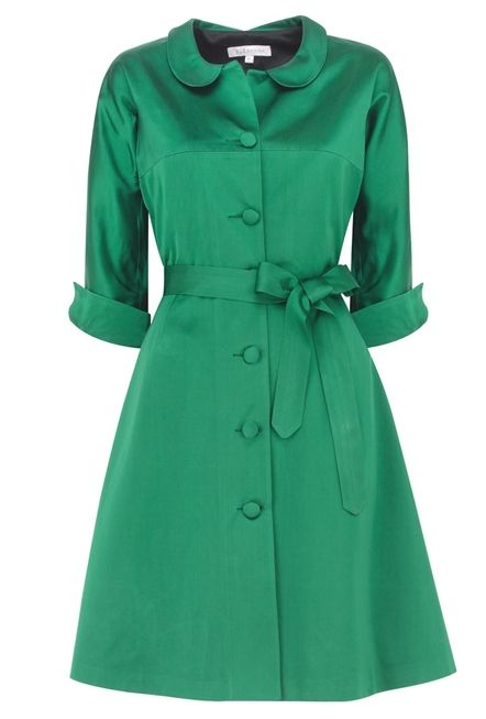 Coat DressDress Vintage, Silk Taffeta, Green Coats, Emeralds Coats, Emeralds Vintage, Coats Dresses, Green Dress, Shirts Dresses, Vintage Inspiration