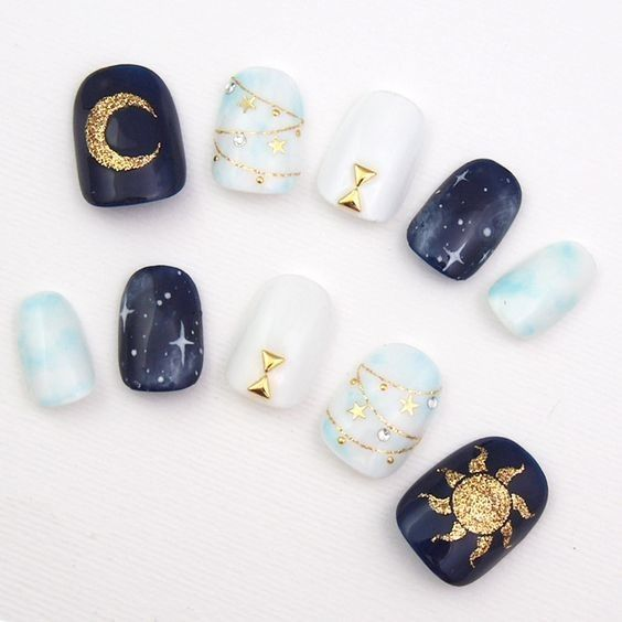 Libra: Sun and Moon - Horoscope Nail Art Ideas Perfect For Each Zodiac Sign - Photos