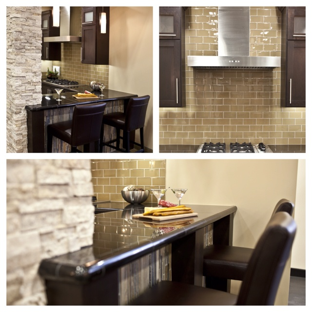 infused kitchen with glass subway tile slate mosaic and a