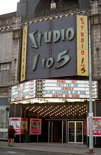 Studio 1 to 5 cinema on Oxford Road, now the Dancehouse theatre, Chorlton upon Medlock, Manchester, England, United Kingdom, 1972, photographer unknown.