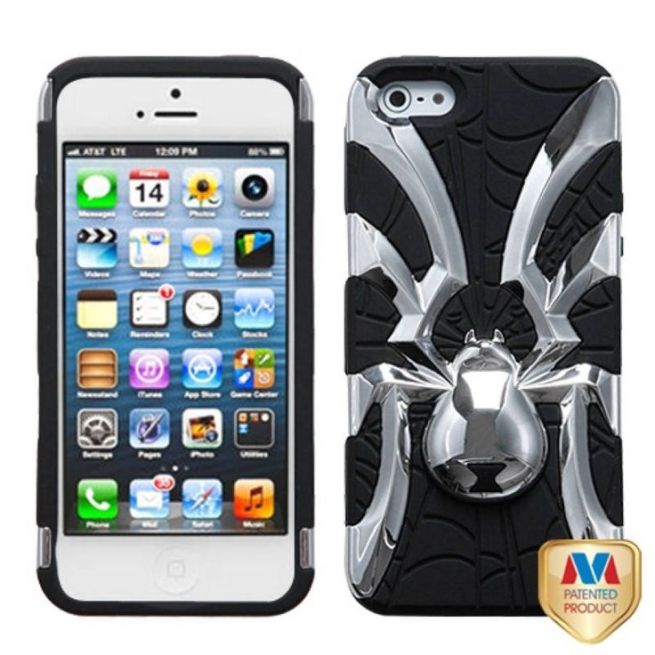 Insten Silver/ Spiderbite Hybrid Phone Case Cover for Apple iPhone 5