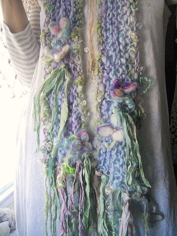 knit scarf airy soft handknit fantasy artyarn by beautifulplace