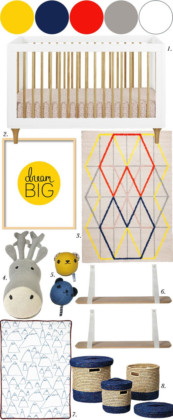 Nursery Mood Board, Primary Colors.