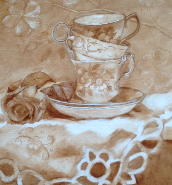 Teacups and Roses underpainting