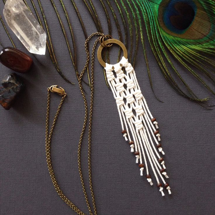 A personal favourite from my Etsy shop https://www.etsy.com/au/listing/463729148/macrame-pendant-necklace-white