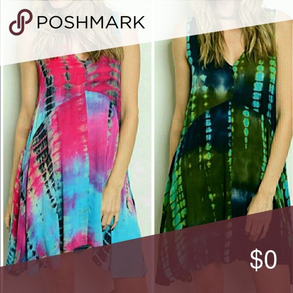 Gauzy Tie-Dye Sleeveless Dress in Pink OR Green 1 S, 1 M in Pink. 1 S 1 M in Green. Listing is for ONE Dress in ONE color. Plus sized (1X) model is wearing SIZE L, with a coordinating Tee. Great must-have dress for Summer. Wear as a dress or as a Tunic over shorts or leggings. Get yours before they are sold out❣️ Dresses Asymmetrical