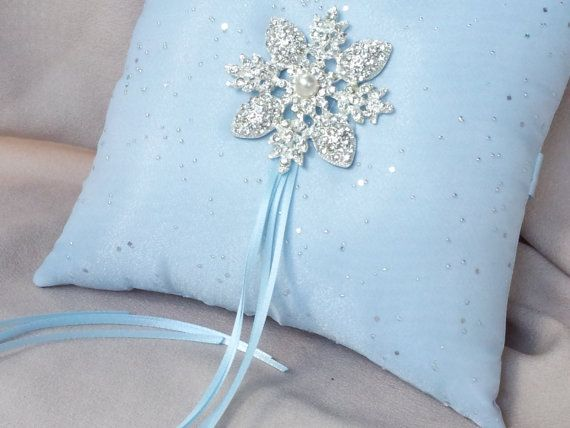 Blue Snowflakes Ring Bearer Pillow Silver Glitter Winter Wedding Rhinestone Accent