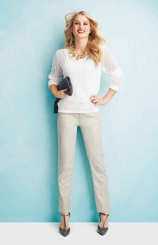 V-Neck Sweater Modern Jacquard Ankle Pant To order this look go here: http://www.myjockeyp2p.com/jennifer