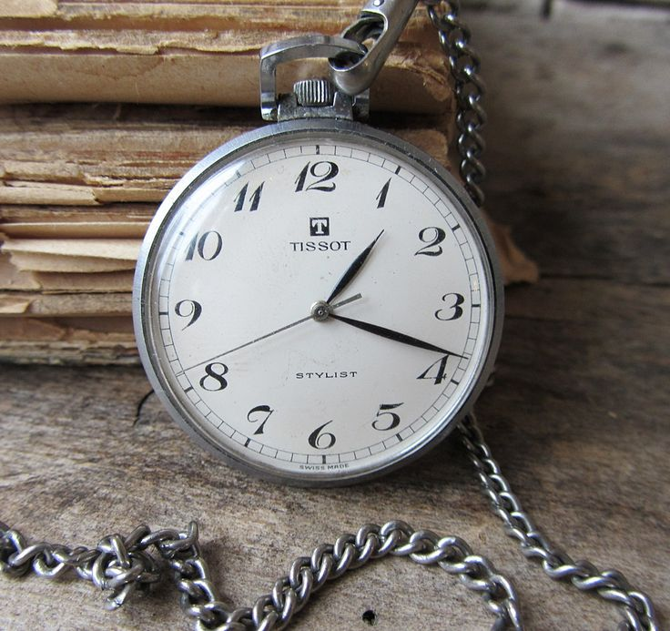 Uncommon Classic Swiss Made Pocket Watch Tissot Stylist With Chain Males's Pocket Watch Working Retro Watch Mechanical Watch Outdated Watch Collectible