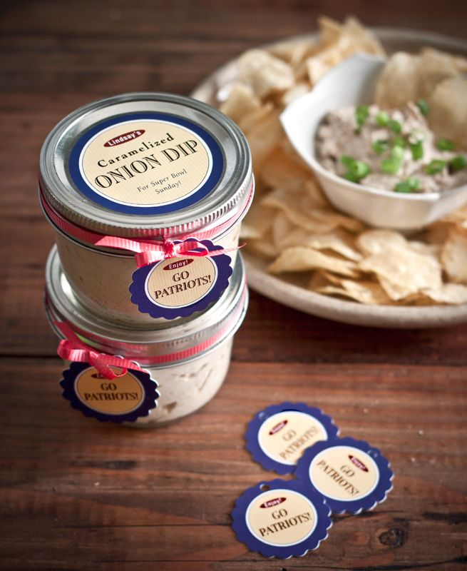 Caramelized Onion Dip recipe from My Own Ideas blog #recipe #superbowl #party #dip #homemade #labels #football #snack