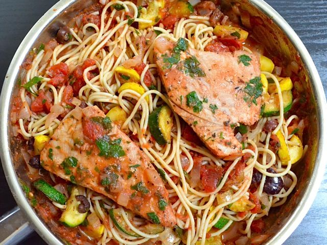 mediterranean tuna pasta - uses canned crushed or diced tomatoes, spices, kalamata olives, anchovy filets, squash, parsley.