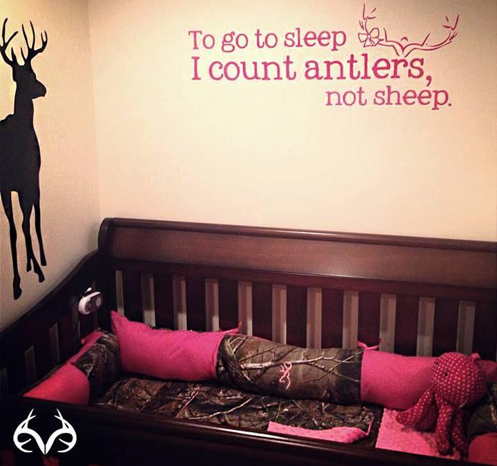 It's perfect for baby girl nursery.   #realtreecamo #camo #crib #bedding