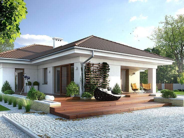 Projekt Aksamit 4 to dom parterowy stworzony z myślą o 4 osobowej rodzinie (139 m2). W projekcie widać wyraźny podział na część dzienną, nocną i gospodarczą. Pełna prezentacja projektu znajduje się na stronie: http://www.domywstylu.pl/projekt-domu-aksamit_4.php. #projekty, #parterowe, #domywstylu, #mtmstyl,