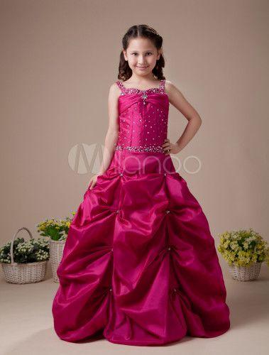 Red A-line Square Taffeta Floor Length Flower Girl Dress