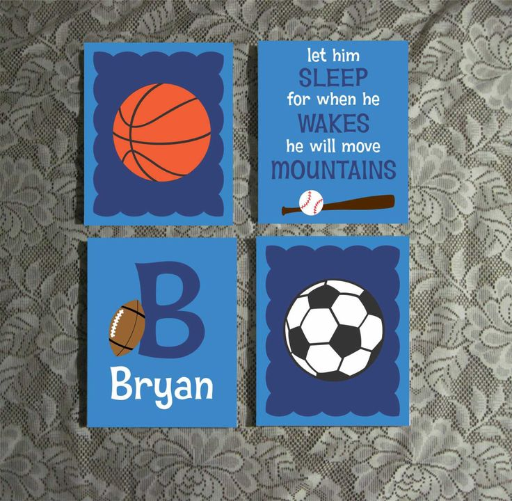 Sports Theme Boy Nursery Hand Painted Name Initial 8 x 10 Canvas Wall Art