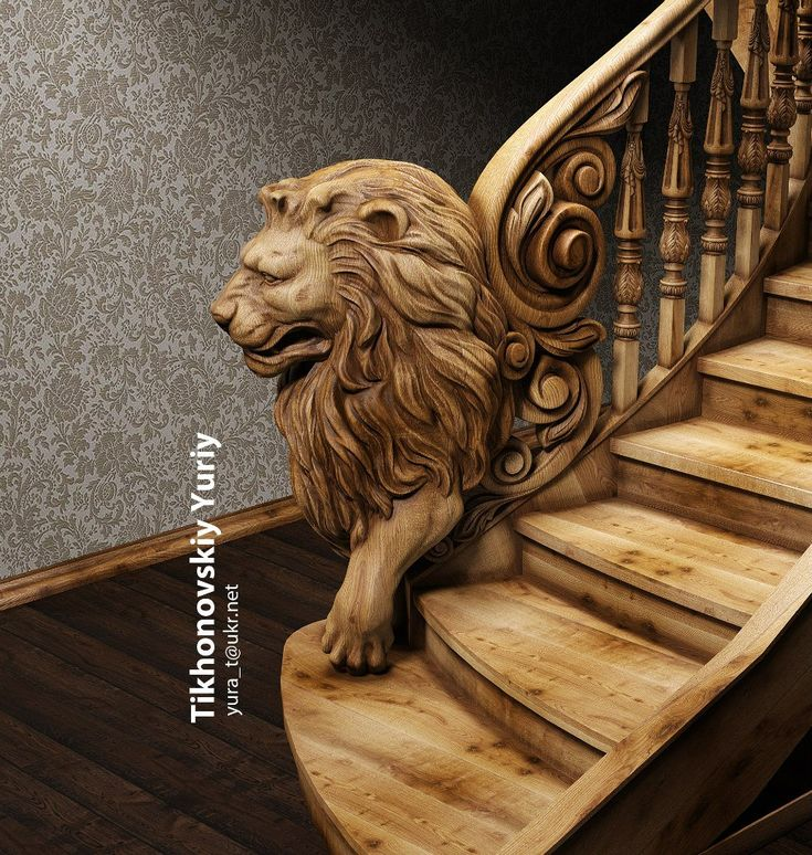 Lion stair pinterest staircases stair case and wooden furniture Www wooden furniture com