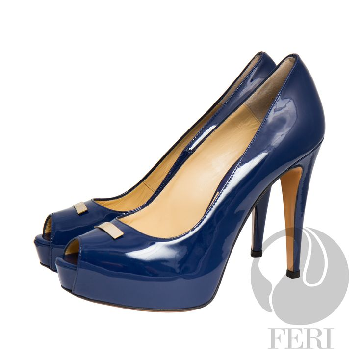 """FERI - NOELA - SHOES - Blue Patent  - Patent napa leather pump with stiletto heel - Napa leather sole and insole - Colour: Blue - FERI logo hardware on sole and top of toe - Heel height: 4.75"""" with a platform 1.08""""  Invest with confidence in FERI Designer Lines. www.gwtcorp.com/ghem or email fashionforghem.com for big discount"""