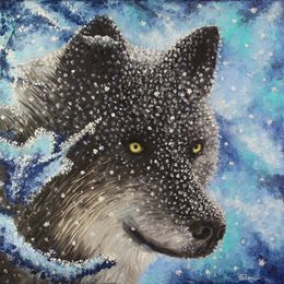 Snow Wolf and Snow Flakes by simon-knott-fine-artist at zippi.co.uk