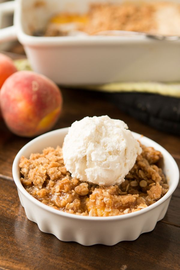 Easy peach crisp for the oven or dutch oven!